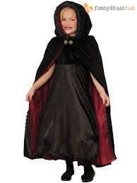 girls deluxe velour gothic vampire cape child kids halloween fancy