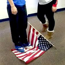 Standing Flag Banners Photo Of Teen Standing On American Flag Prompts Police