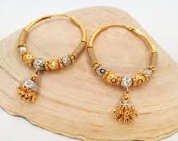 gold jhumka hoop earrings gold bali jhumka etsy