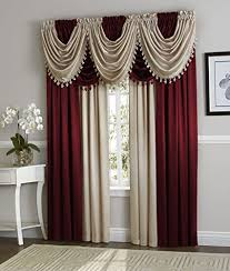 Burgundy Curtains With Valance Luxurydiscounts 1 Crinkled Window Treatment