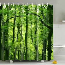 Shower Curtain Sale Sale Eco Friendly Green Woods Printing Shower Curtain For