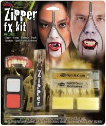 spirit halloween fangs deluxe horror halloween makeup scary fx zipper kit accessory ebay