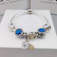 silver necklace pandora beads images Pandora charm bracelet with charms blue JPG