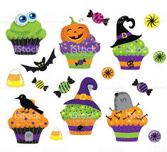 set of colorful halloween sweets cupcake and candies icons stock