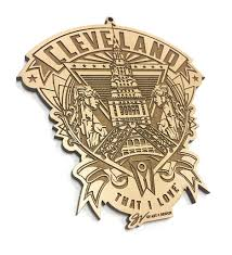 cleveland crest wooden ornament gv and design