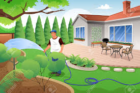 a vector illustration of man watering his grass and garden in