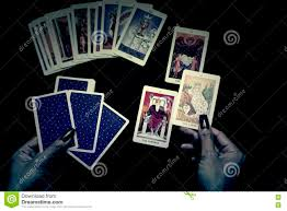open the tarot cards in halloween night stock photo image 79611930