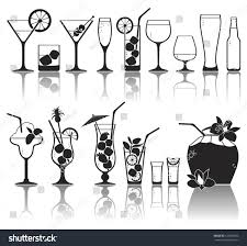 tropical cocktail silhouette different kinds glasses aperitifs juice cocktails stock vector