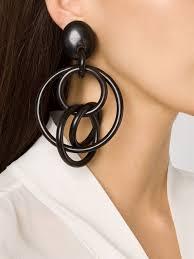 hoop clip on earrings lyst monies large linked hoops clip on earrings in black