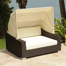 shop source outdoor king espresso wicker daybed with solid cushion