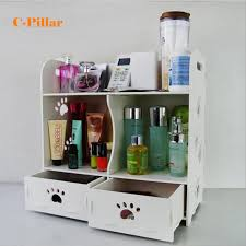 Storage Boxes Bathroom Cosmetic Organizer White Wood Makeup Storage Box Desktop Bathroom