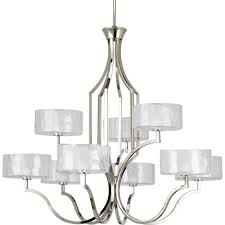 Progress Lighting 5 Light Chandelier Progress Lighting Caress Collection 9 Light Polished Nickel