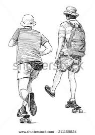 sketch walking young person stock illustration 437868655
