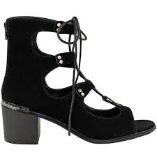 Black Suede Ankle Boots Low Heel Ladies Womens Lace Up Gladiator Low Block Heel Ankle Boots Cut Out