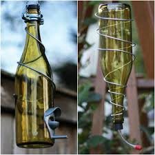 silver wine bottles yellow and silver wine bottle bird feeder combo glass