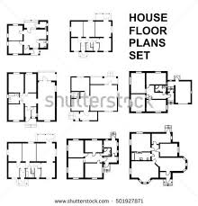 Set Design Floor Plan Set Ground Floor Blueprints Vector Unfurnished Stock Vector