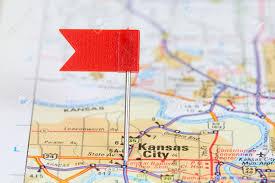 Kansas destination travel images Kansas city missouri red flag pin on an old map showing travel jpg