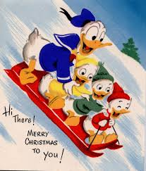 donald duck and family sledding christmas wallpaper christmas