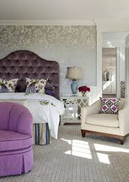 White Bedroom With Purple Accents Exotic Wallpaper Design For Bedroom With Geometric Shape Wallpaper