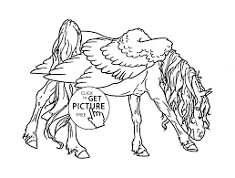 realistic pegasus coloring page for kids animal coloring pages