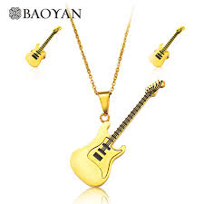 stainless steel guitar necklace images Baoyan casual style cool gold color 316l stainless steel guitar jpg