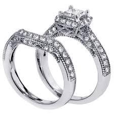 Vintage Wedding Ring Sets by 1 Carat Vintage Princess Cut Diamond Wedding Ring Set For Women