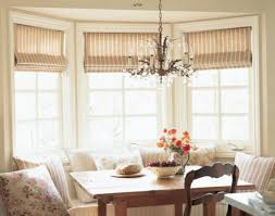 bay window breakfast nook with stripes blinds whiten yellowed