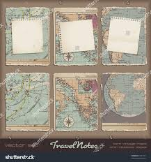 Vintage Maps Travel Notes Grungy Torn Notebook Pages Stock Vector 81221107