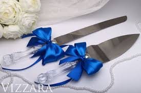 navy blue wedding set server and knife cake serving wedding decor