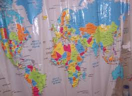 World Map Fabric Shower Curtain World Map Shower Curtain Fabric Rustic Primitive Antique Globe In