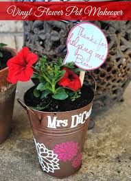 Cute Flower Pots Dollar Store Flower Pot Makeover With Vinyl Flowers And A