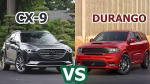 dodge durango comparison 2018 dodge durango vs 2018 mazda cx 9 family suv comparison