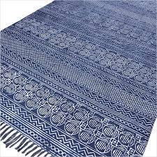 Area Rugs From India Blue Cotton Block Print Accent Area Dhurrie Rug Flat Weave