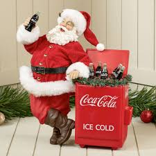 kurt adler fabriche coca cola cooler santa figurine