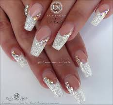 luminous nails white acrylic nails with a touch of
