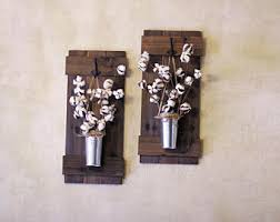Wall Plant Holders Cotton Stem Decor Rustic Wall Decor Wall Hanging Wooden