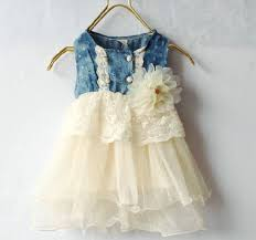 infant ivory tutu dress denim lace waist flower corsage denim ivory