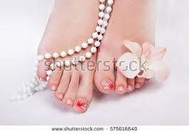beautiful womans nails french manicure pearls stock photo