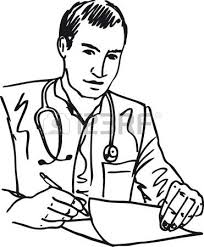 sketch of medical doctor with stethoscope sitting at a desk in