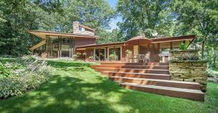 frank lloyd wright inspired home with lush landscaping wisconsin modern frank lloyd wright inspired home