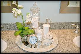 placing a few accessories on a tray can give a bathroom that spa