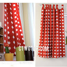cute girls cotton room bright red and white polka dot curtains