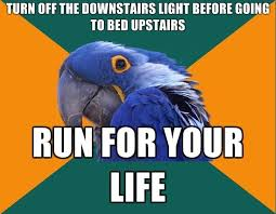 Paranoid Parrot Memes - turn off the downstairs light before going to bed upstairs run