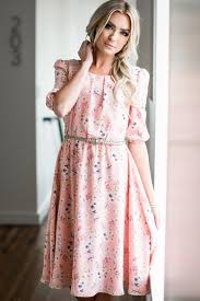 Modest Kaylee Modest Dress In Pink W Floral Print