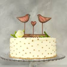 8th anniversary gift bronze wedding cake topper engagement topper birds wedding