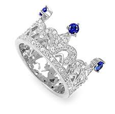 online rings silver images Buy exxotic sterling silver blue cz princess crown ring gift for jpg