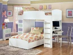Kids Built In Desk by White Stained Wooden Teenage Bunk Bed Built In Drawers Using Light