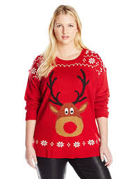 light up ugly christmas sweater dress amazon com blizzard bay women s plus size rudolph with light up