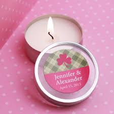 personalized candle favors gingham personalized candle favors wedding theme