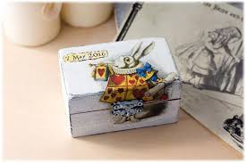 modern rabbit ring holder images Alice in wonderland box alice wedding decorations wedding ring jpg